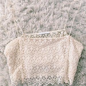 NWOT Zara White Crochet Crop Top